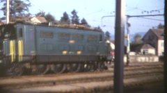 European trains, 1960's, electric overhead engine Stock Footage