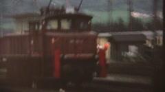 European trains, 1960's ,train travel overland Stock Footage