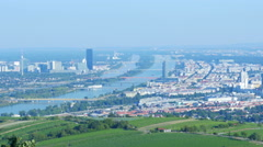 Vienna city and danube river view, austria, 4k Stock Footage