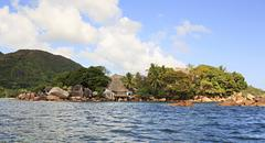 Island and hotel Chauve Souris Club in the Indian Ocean Stock Photos