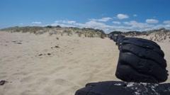Timelapse on beautiful yellow sand beach Stock Footage