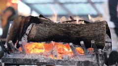 Close-Up the Fireplace - stock footage