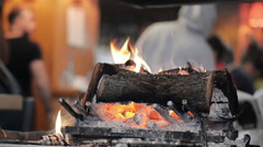 Close-Up of a Fireplace in the Restaurant - stock footage