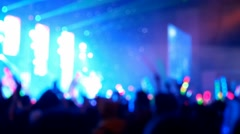 blurred focused concert crowd in hall - stock footage