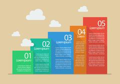 Flat style five steps infographic Stock Illustration