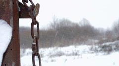 Iron chain in snow Stock Footage