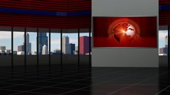 Stock Video Footage of News TV Studio Set 92 - Virtual Green Screen Background Loop