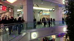 One side of people shopping xmas gift in Burnaby shopping mall Stock Footage