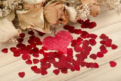 Bouquet of dried roses and red box, valentine Stock Photos