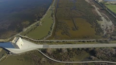 Aerial view of the Carbonniere Tower by drone, Camargue, France Stock Footage
