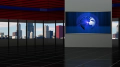 News TV Studio Set 93 - Virtual Green Screen Background Loop Stock Footage