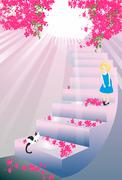Meeting on the stairs Stock Illustration