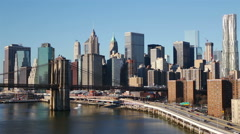Sunny Cloudless Morning over Manhattan - stock footage