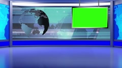 Stock Video Footage of News TV Studio Set 97 - Virtual Green Screen Background Loop