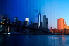 Morning over Manhattan. Fantastic Collage Stock Photos