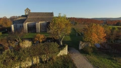 Salagon Priory, view by drone in autumn, Mane, France Stock Footage