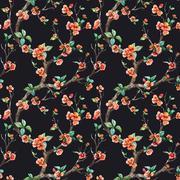 Watercolor vector sakura pattern Stock Illustration