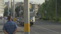 Tram and cars on Splaiul Independenţei Street, Cluj-Napoca Stock Footage