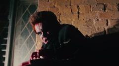 Dangerous monster escaping from underworld, demonic creature running dark street - stock footage