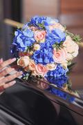 Bouquet for the bride a beautiful design of different flowers Stock Photos