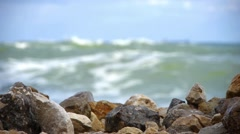 Sea waves soft crashing of the rocks on the seashore 119 Stock Footage