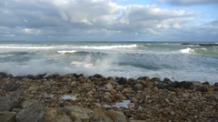Sea waves come and smash of beach with large stones 120 Stock Footage