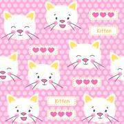 Kitten and hearts seamless vector pattern Stock Illustration
