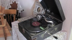 Old gramophone with a vinyl record Stock Footage