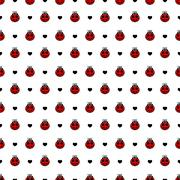 Red  ladybirds and hearts seamless vector pattern Stock Illustration