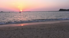 Sunset on the Grande plage beach at Saint-Jean-De-Luz, Aquitaine, France by Stock Footage