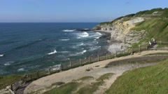 Pointe Sainte-Barbe headland and cliffs at Saint-Jean-De-Luz, Aquitaine, France - stock footage