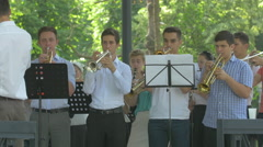 Playing the trumpets in Central Park, Cluj-Napoca - stock footage