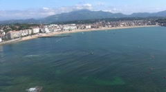 Saint-Jean-De-Luz town and beach with Pointe Sainte-Barbe headland, Aquitaine, Stock Footage