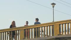 Walking on a bridge in Cluj-Napoca Stock Footage