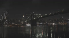 New York City Bridge at Night Stock Footage