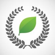 Isolated laurel wreath icon with a green  leaf - stock illustration