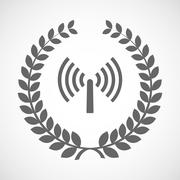 Stock Illustration of Isolated laurel wreath icon with an antenna
