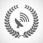 Isolated laurel wreath icon with a satellite dish Stock Illustration