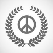 Isolated laurel wreath icon with a peace sign Stock Illustration