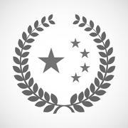 Isolated laurel wreath icon with  the five stars china flag symbol Stock Illustration
