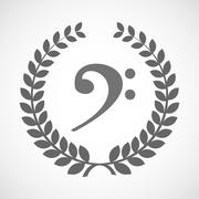 Isolated laurel wreath icon with an F clef Stock Illustration