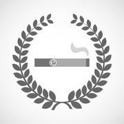 Isolated laurel wreath icon with an electronic cigarette - stock illustration