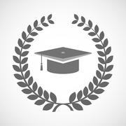 Stock Illustration of Isolated laurel wreath icon with a graduation cap