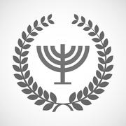 Isolated laurel wreath icon with a chandelier Stock Illustration