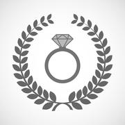Stock Illustration of Isolated laurel wreath icon with an engagement ring