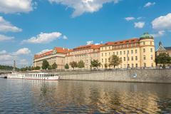 Ferry Boaty on Moldava river - Prague- Czech Republic - stock photo