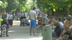 Afternoon in Central Park, Cluj-Napoca Stock Footage