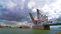 Time lapse of the automatic movable bridge at the port of Antwerp. Stock Footage