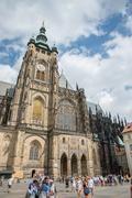 People at Cathedral of St. Vitus - Prague - Czech Republic - stock photo