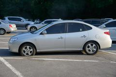 POCHEON, KOREA - SEPTEMBER 06, 2014: flat tire Stock Photos